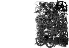 Old watch gears background BW Stock Images