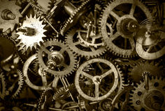 Old watch gears background BW Royalty Free Stock Image