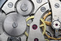Old watch gears close up Royalty Free Stock Photos