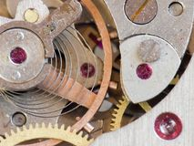 Old watch mechanism. Watch mechanism, macro. Visible impurities. To take advantage of macro converter Stock Photo