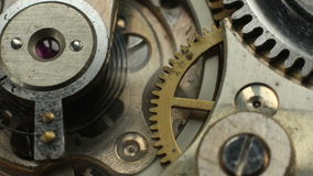 Old watch mechanism macro time lapse. stock footage