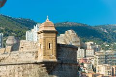 Old watch tower. Old medieval watch tower above the Hercules port in Monaco stock images
