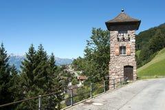 Old watch tower. Triesenberg, Principality of Liechtenstein stock photos