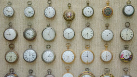 Old watches presented in National Museum of Fine Art in Valletta Stock Image