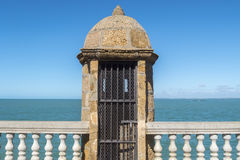 Old watchtower on the promenade of Cadiz, Genoves Park, Andaluci Stock Photo