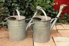 Old water cans. Two old wate cans on the old tiles with ivy Royalty Free Stock Images