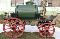 Old water cart. Old manual fire water cart Royalty Free Stock Images