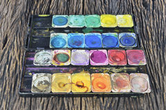 Old water color paint box Royalty Free Stock Photos