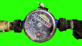 Old Water Meter with green screen stock video footage