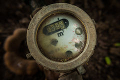 Old water meter valves. Old water meter valves vintage color Royalty Free Stock Photo