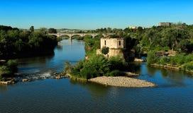 Old water mil on Guadalquivir river, Cordoba, Spain Royalty Free Stock Images