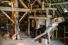 Old water mill interior and details Royalty Free Stock Photography