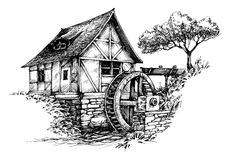 Old water mill sketch. Artistic black and white drawing of an old watermill Stock Images