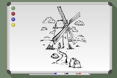 Old water mill sketch Royalty Free Stock Photo