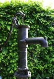 Old water pump with spiderweb and green bushes in the background - Garden. Vintage metal waterpump with a spiderweb and green bushes in the background stock photos