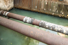 Old Water supply pipeline, rust on metal pipeline Royalty Free Stock Photos