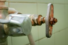 Old water tap close up. stock photography