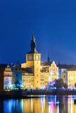 Old Water Tower At Night, Reflection In River. Prague, Czech Republic Stock Image