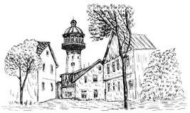 Old water tower, symbol of Zelenogradsk earlier Cranz, Landmark of the Kaliningrad region, Russia, Vector hand drawn Royalty Free Stock Photo