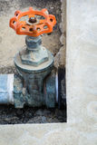 Old water valve and steel pipe. Rusty on it royalty free stock photography