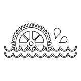 Old water wheel icon, outline style Royalty Free Stock Images