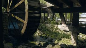 Old water wheel stock footage