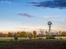 Old Water Windmill At Sunset. Fall Autumn Colors Stock Photos