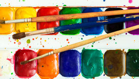 Old watercolor paint box top down view Royalty Free Stock Photo