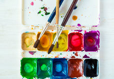 Old watercolor paint box top down view Royalty Free Stock Photos