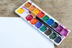 Old watercolor paintbox Stock Photography