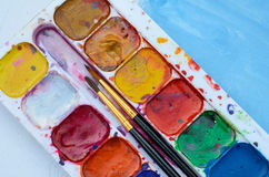 Old watercolor paintbox Royalty Free Stock Photo