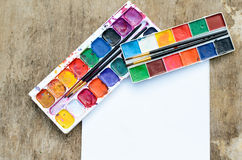 Old watercolor paintbox Royalty Free Stock Image