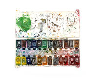 Old watercolor paints of the artist Royalty Free Stock Photography