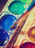 Old watercolor paints in a box Royalty Free Stock Photo