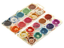 Old watercolour paints palette. Royalty Free Stock Image