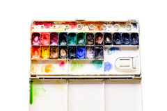 Old watercolour paints palette Royalty Free Stock Image