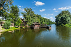 Old watermill. Watermill on boat in Slovakia city Kolarovo Stock Images