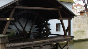 Old watermill in Prague. stock video