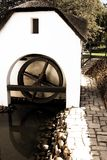 Old watermill on a wine farm. Old watermill on the wine farm with fish swimming in the water, South Africa royalty free stock photography