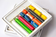 Old wax crayons. Differrent color old wax crayons stock images
