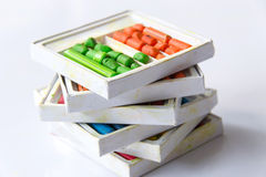 Old wax crayons. On the box royalty free stock photo