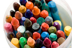 Old wax crayons. A variety of differrent color old wax crayons Stock Photos