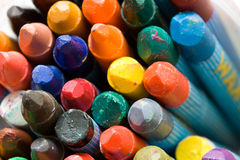 Old wax crayons. A variety of differrent color old wax crayons Stock Photography