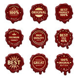 Old wax stamps with finest quality advertising text vector stock. Old wax stamps with finest quality advertising text vector. Stamp wax premium, illustration of Royalty Free Stock Images