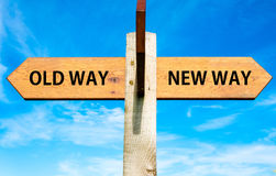 Old Way And New Way Signs Royalty Free Stock Photography