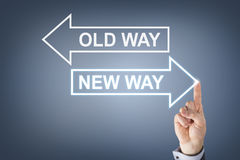 Old Way or New Way on Visual Screen Stock Images