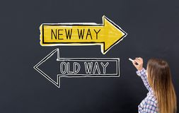 Old way or new way with young woman royalty free stock photo
