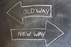 Old way, new way written on blackboard. Change concept