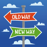 Old Way Versus New Way. Directional arrows on a signpost in a hand drawn style with the words Old Way and New Way added in white text Stock Photos