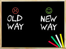 Old Way versus New Way message with sad and happy emoticon faces. Handwriting with chalk on wooden frame blackboard, colored chalk in the corner. Lifestyle Royalty Free Stock Photo